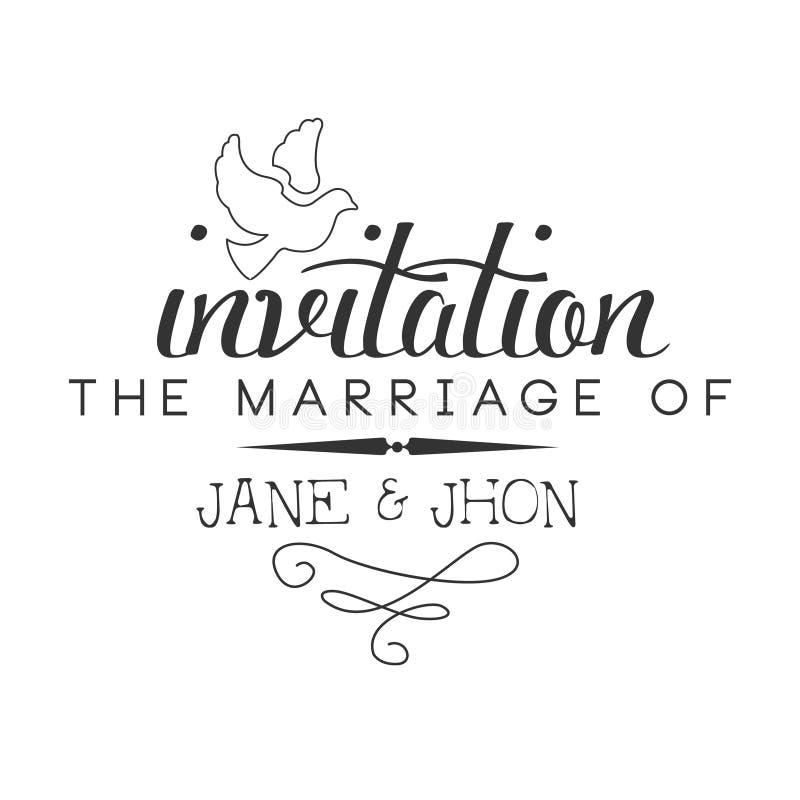 Heirat-Schwarzweiss-Einladungs-Karten-Design-Schablone Mit ...