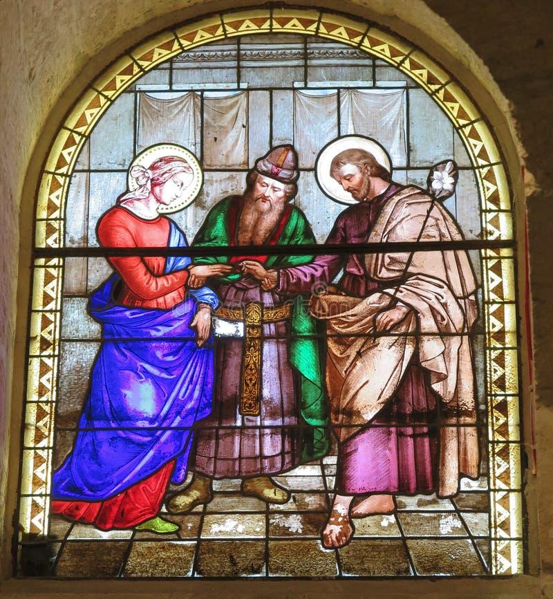 Heirat von St Joseph und von Mary, Buntglasfenster des Chus lizenzfreies stockfoto