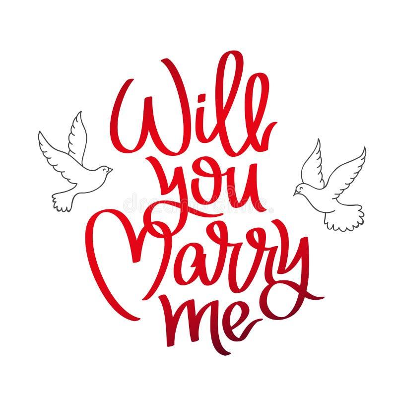 Heiraten Sie Mich Kalligraphie Vektor Abbildung