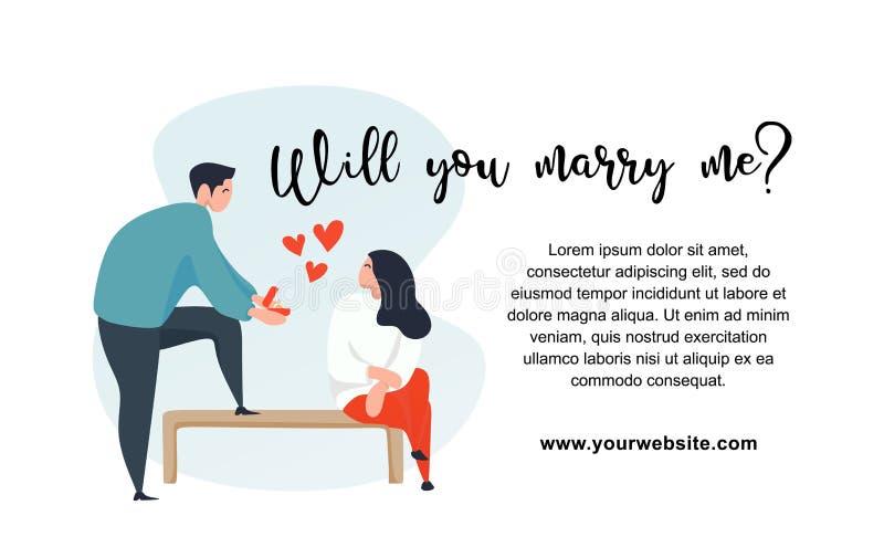 Heiraten Sie mich Text mit netten Paaren im Liebescharakter für valentine' s-Tagesfahnenentwurfs-Vektorillustration stock abbildung