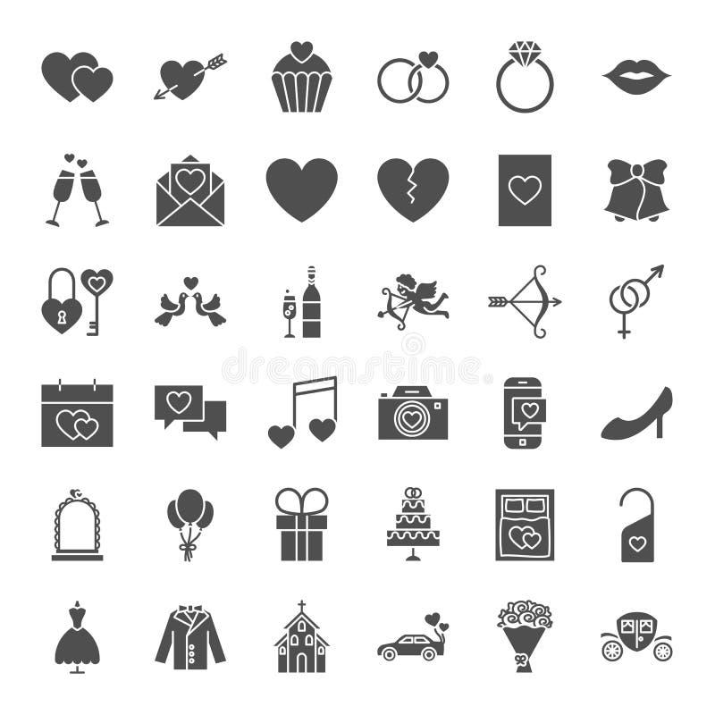Heiratende feste Netz-Ikonen lizenzfreie abbildung