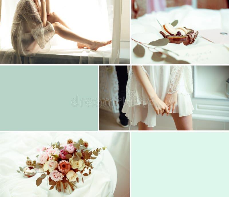 Heiratende hellblaue Collage mit sechs Bild stockbild