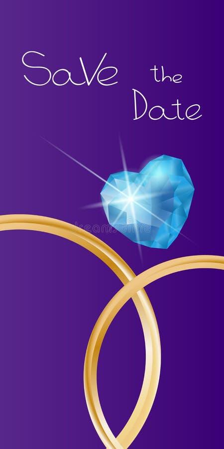 Download Heiratende Vertikale Fahne Mit Ringen Und Edelstein Stock Abbildung - Illustration von zeremonie, ehemann: 106802386