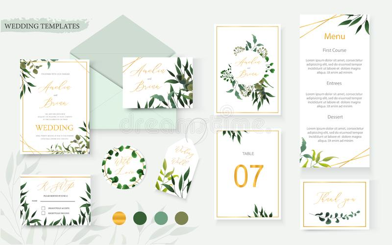 Heiratender Blumengoldeinladungs-Kartenumschlag speichern die Datum rsvp Menütabelle stock abbildung