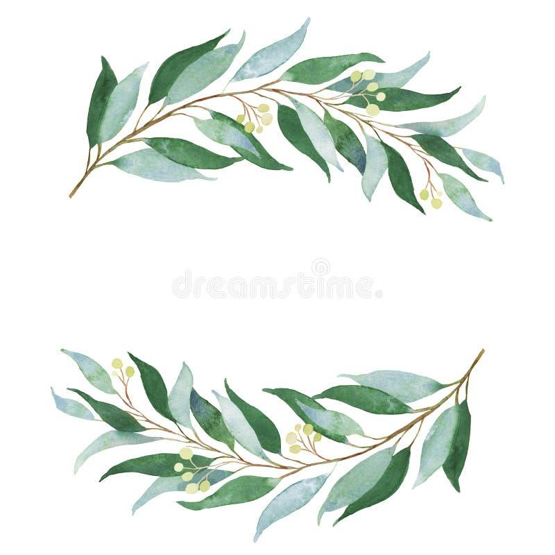 Heiratender grüner Zweig Dekoratives Bild einer Flugwesenschwalbe ein Blatt Papier in seinem Schnabel vektor abbildung