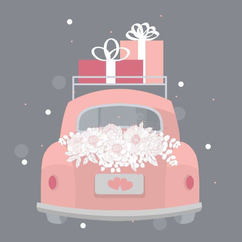 Heiratendes rosa Retro- Auto mit Blumen und Geschenken Vektor illustrati stock abbildung