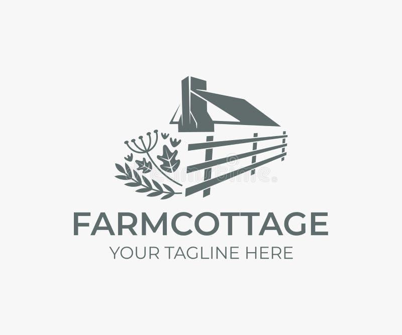 Heiratsbauernhofhäuschen, -dach und -kamin mit Zaun und Kräutern, Logoentwurf Haus- oder rustikale, ländliche Ausgangsszene und L stock abbildung