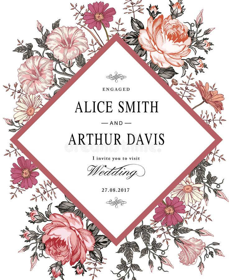 Heiratsdankeinladung Schöne realistische Blumen Kamillen-Rosen-Karte stock abbildung