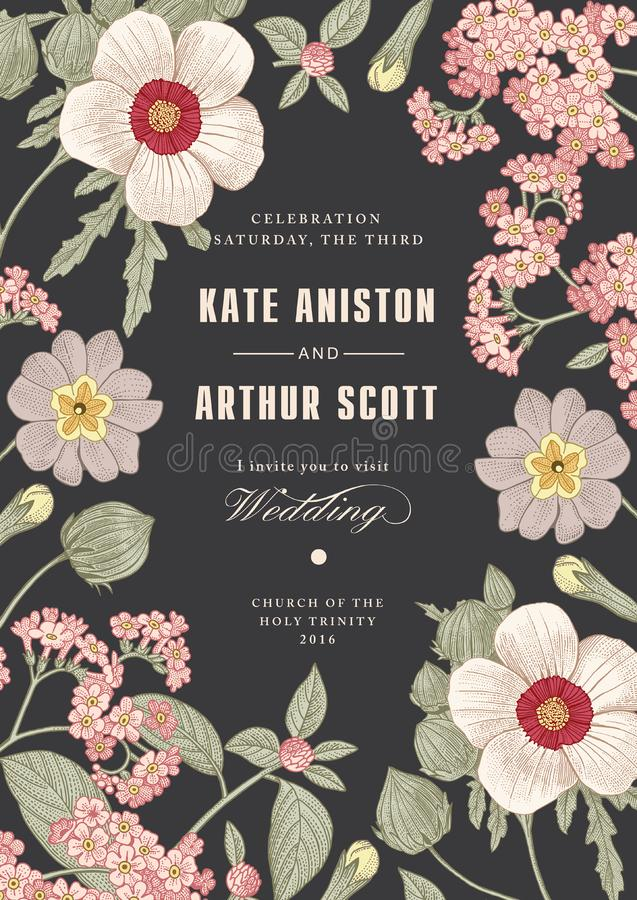 Heiratsdankeinladung Schöne realistische Blumenheliotropkarte Feld, Aufkleber Vektorstich Victorian Illustration lizenzfreie abbildung