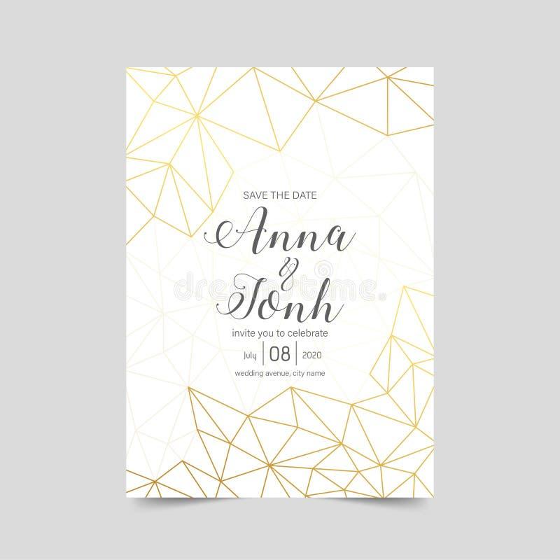 Heiratseinladung, eleganter geometrischer Karte Entwurf, goldenes Weiß lizenzfreies stockbild