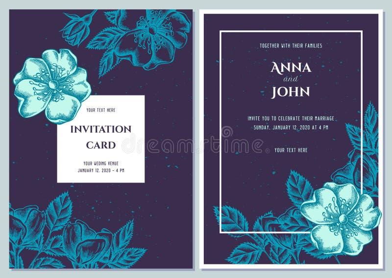 Heiratseinladungskarte mit blauem Hund stieg lizenzfreie abbildung