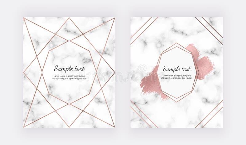 Heiratseinladungskarten mit rosafarbenes Goldgeometrischem Entwurf, polygonalen Linien und Bürstenfarbenanschlag auf der Marmorbe stock abbildung
