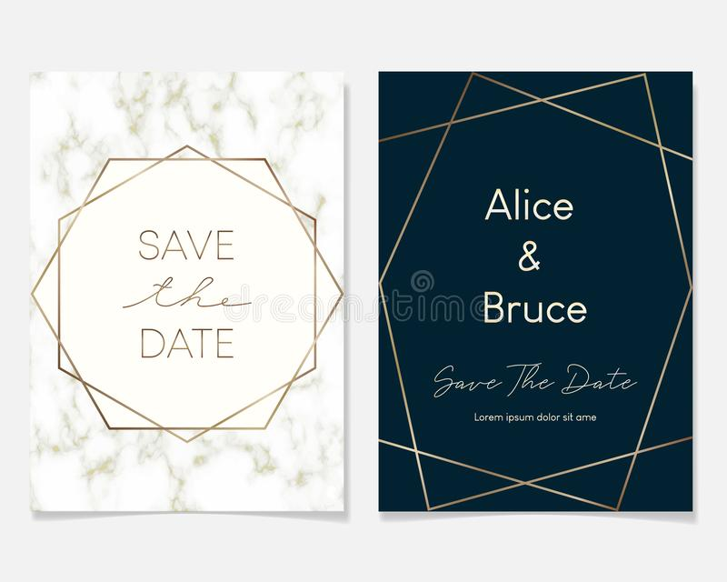 Heiratseinladungskartenentwurf mit goldenen Rahmen und Marmorbeschaffenheit Luxusmarmor mit Goldgeometrischer Rahmen-Entwurfsscha lizenzfreie abbildung