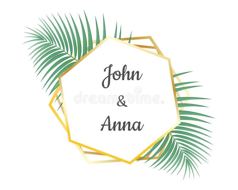 Heiratseinladungskartenentwurf und geometrischer goldener Rahmen dekorativ mit tropischen Bl?ttern lizenzfreie abbildung