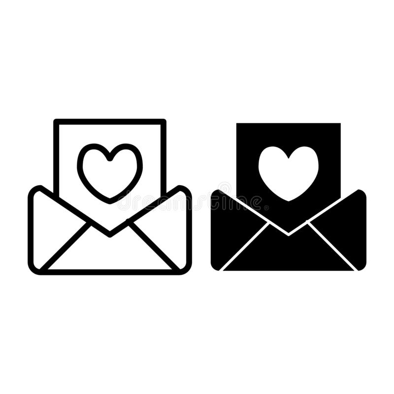 Heiratseinladungslinie und Glyphikone Buchstabevektorillustration lokalisiert auf Weiß Umschlagentwurfs-Artentwurf stock abbildung