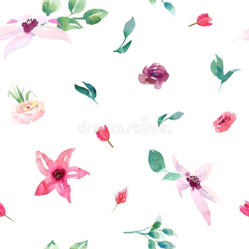 Heiratsnahtloses Muster des fr?hlingsromantischen Brautblumenstrau?es rosa gr?ne Blattverzierung der purpurroten und wei?en Blume stockbilder