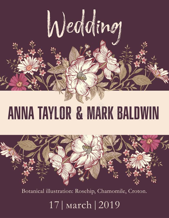 Heiratsweinlese-Karte Feld-Zeichnung Blumen der einladung schöne, die Hagebutte, Kamille, Croton Vektor-Illustrations-Tapete grav stock abbildung