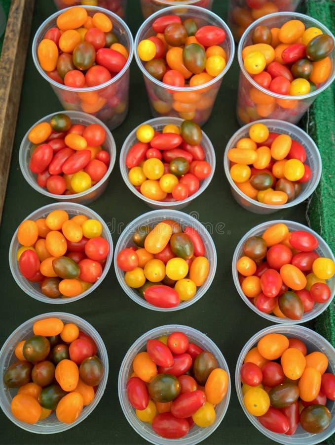 Heirloom Czereśniowi pomidory przy rolnikami wprowadzać na rynek w Kalifornia usa obraz royalty free