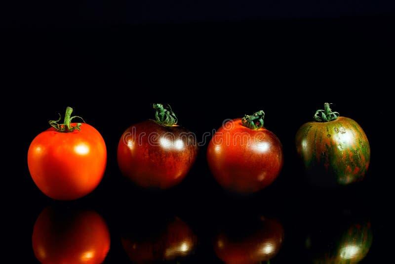 Heirloom pomidory na czarnym odbijającym tle obraz royalty free