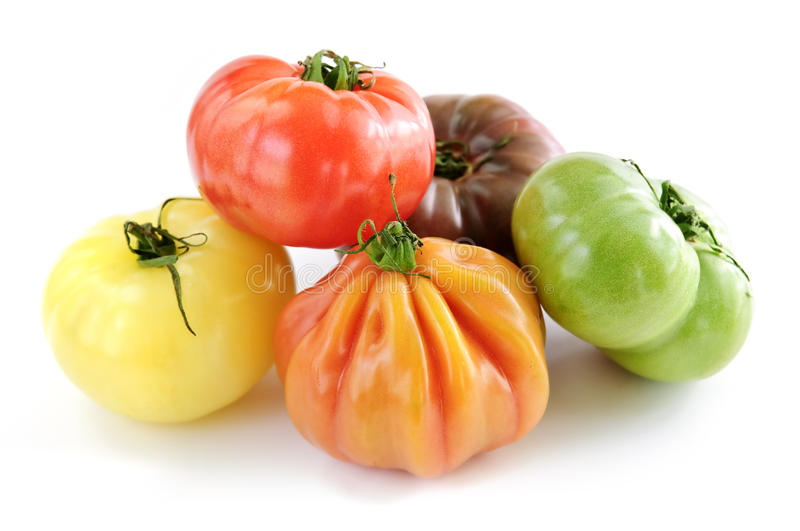 Heirloom tomatoes. Multi colored heirloom tomatoes isolated on white background royalty free stock photography