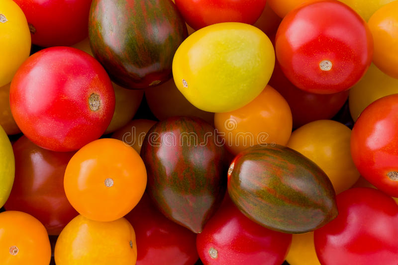 Heirloom Tomatoes. Background texture of baby heirloom tomatoes stock photo