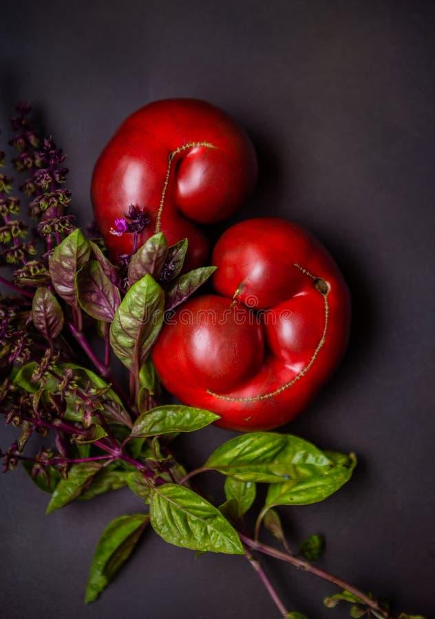 Heirloom Tomatoes and Fresh Thai Basil stock photos