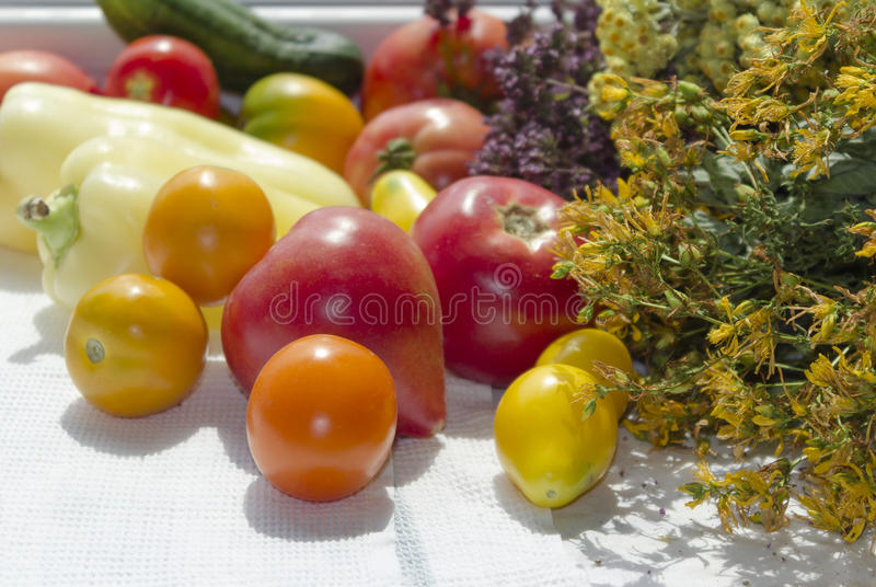 Heirloom tomatoes, pepper, cucmber, organic vegetables royalty free stock photo