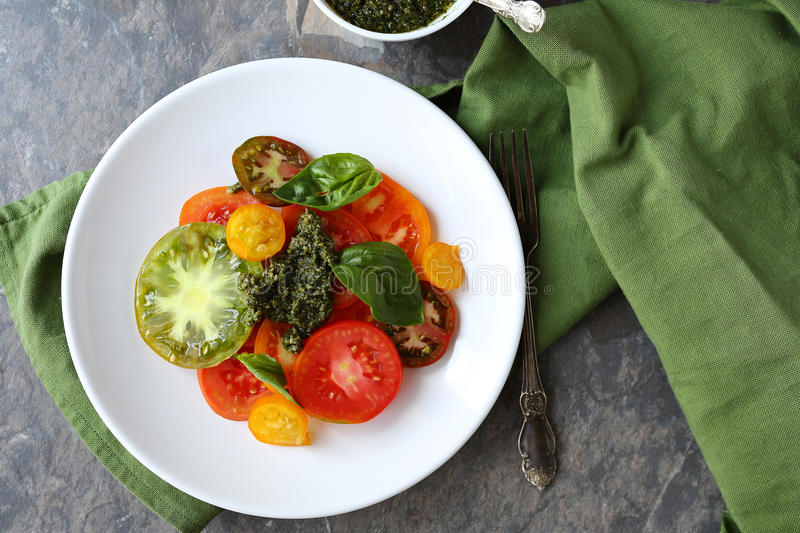 Heirloom tomatoes salad. Above view royalty free stock images