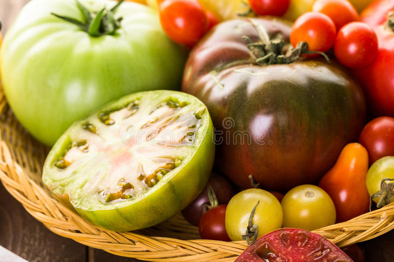 Heirloom Tomatoes. Tomato sandwich made with organic heirloom tomatoes royalty free stock photography