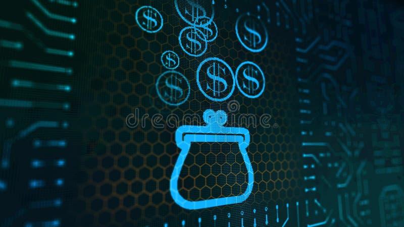 Heitres Geldbeutel-Zeichen-Brett mit Dollar lizenzfreie abbildung