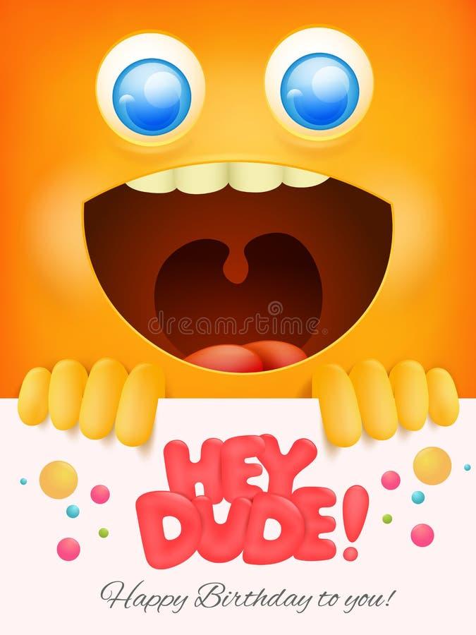Hej facet urodzinowa karta z żółtym smiley twarzy tłem ilustracja wektor