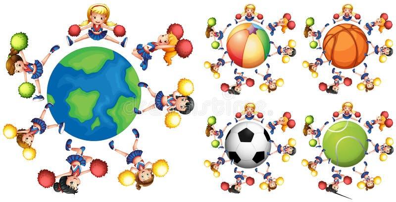 Hejaklacksledare runt om olika bollar stock illustrationer