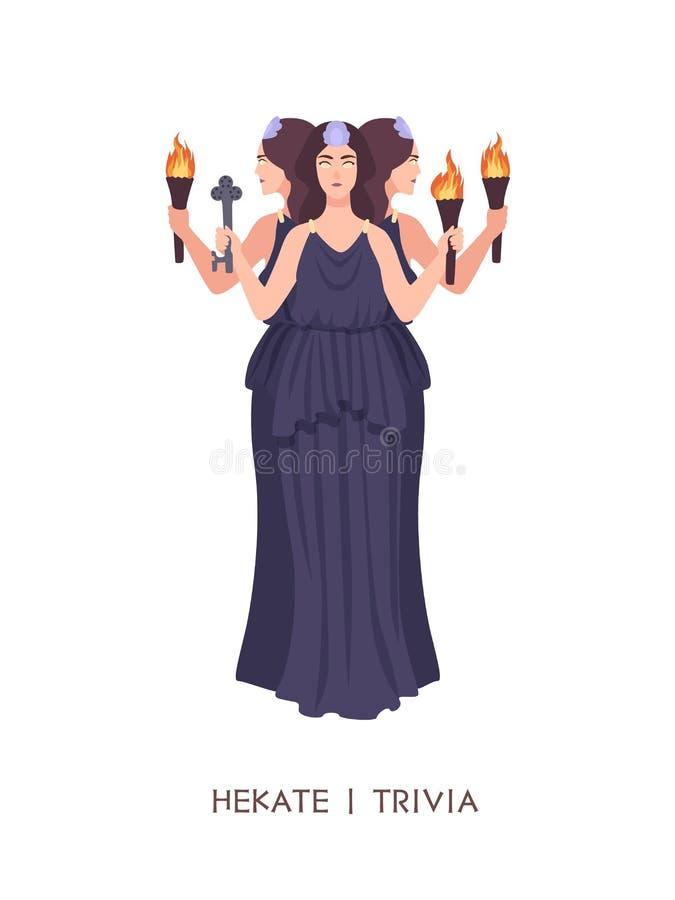 Hekate o curiosidades - diosa de la brujería, brujería y magia en griego griego clásico y religión o mitología romana hembra ilustración del vector
