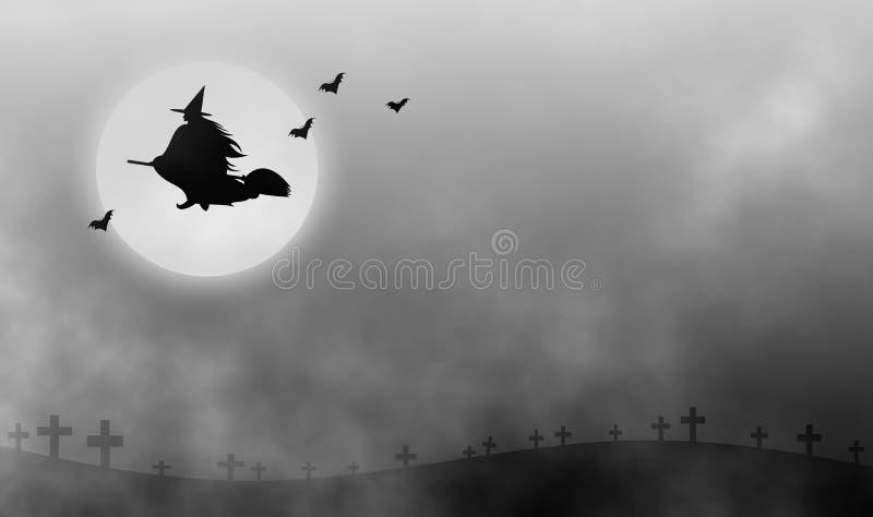 Heks die door de mist bij nacht vliegen royalty-vrije illustratie