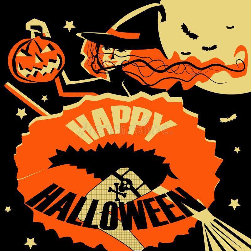Heks die op een bezem met een in hand pompoen-lantaarn vliegen De kaart van de groet voor Halloween royalty-vrije stock foto's