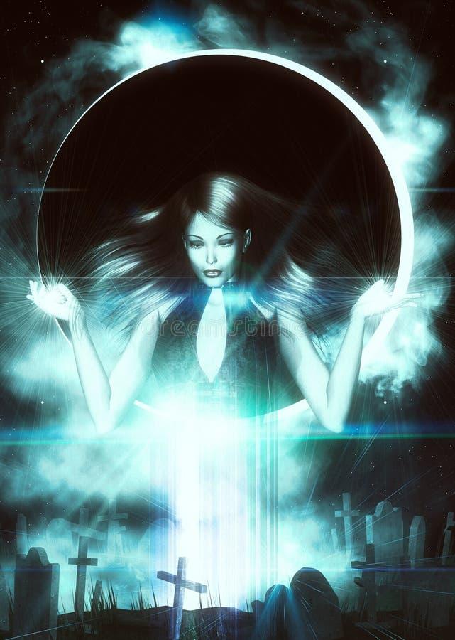 Heks en 3d begraafplaats vector illustratie