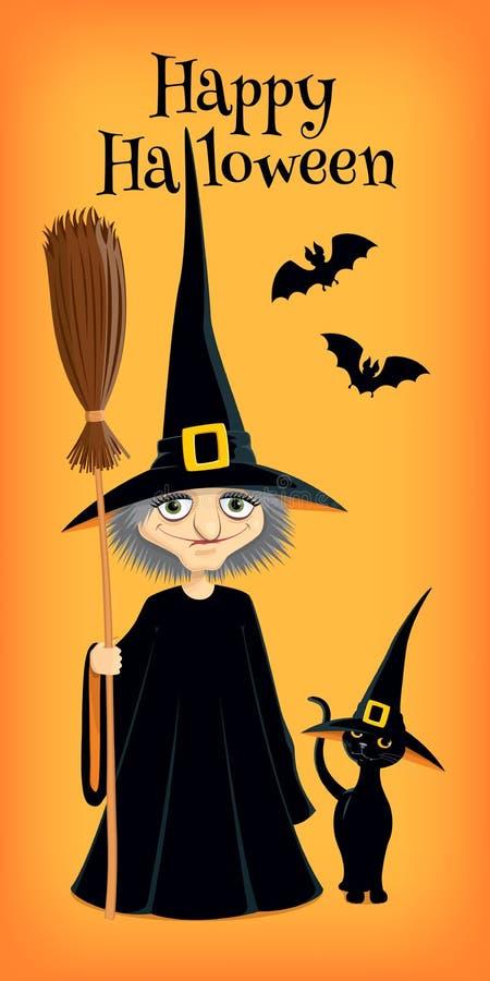 Heks en kattenbanner stock illustratie