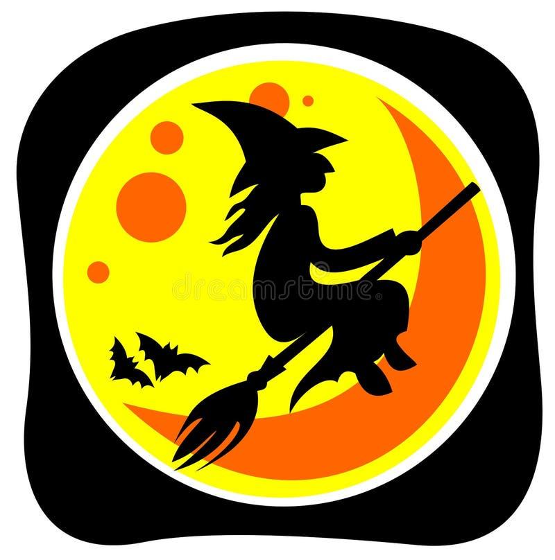Heks en maan stock illustratie