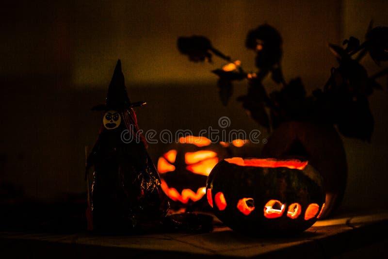 Heks en pompoen in de nacht stock fotografie