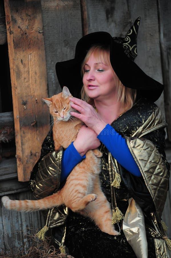 Heks met een kat stock afbeeldingen