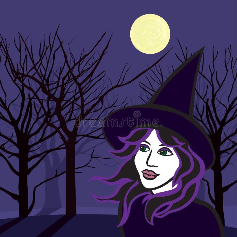 Heks met spoken, Halloween vectorillustratie stock illustratie