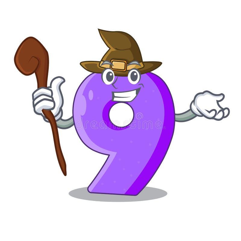 Heks nummer Negen gestalte gegeven ballondoopvont charcter royalty-vrije illustratie