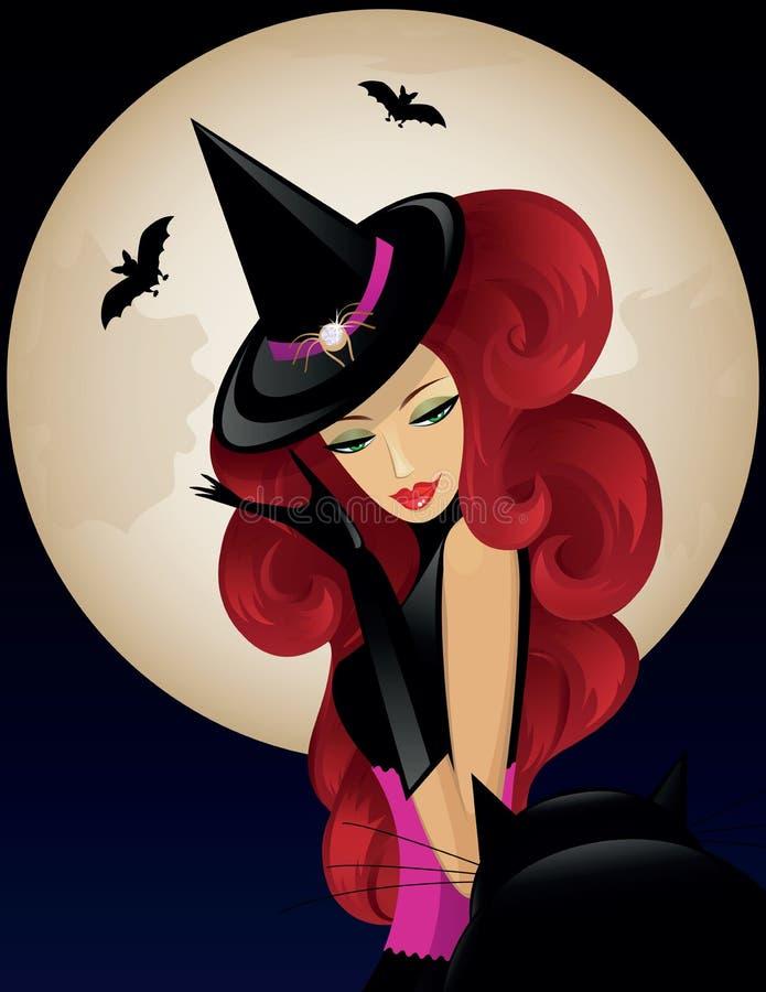 Heks op Halloween vector illustratie