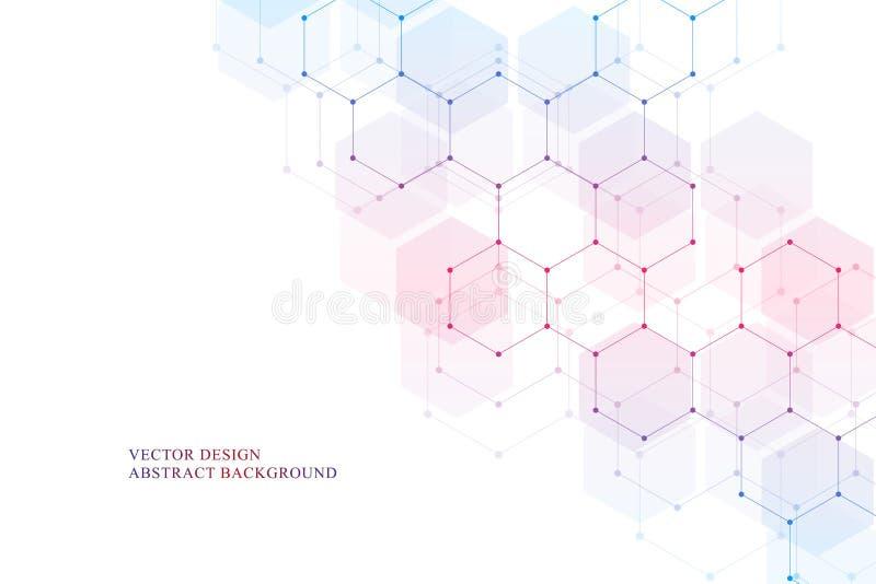 Heksagonalna cząsteczkowa struktura dla medycznego, nauki i technologii cyfrowej projekta, Abstrakcjonistyczny geometryczny wekto royalty ilustracja
