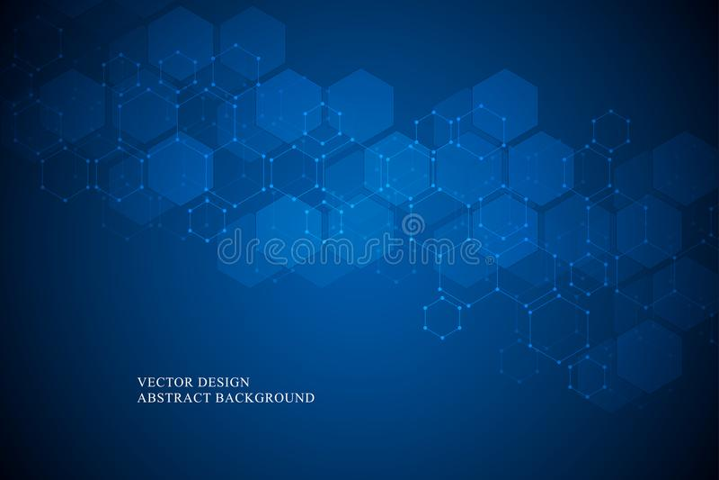 Heksagonalna cząsteczkowa struktura dla medycznego, nauki i technologii cyfrowej projekta, Abstrakcjonistyczny geometryczny wekto ilustracji