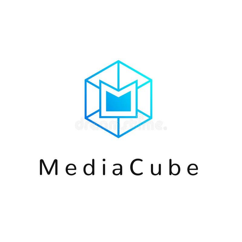 Heksagonalna geometrical ogólnospołeczna sieć logo ikona z listem M, proste linie Honeycomb błękitny logotyp, element dla netto s ilustracji