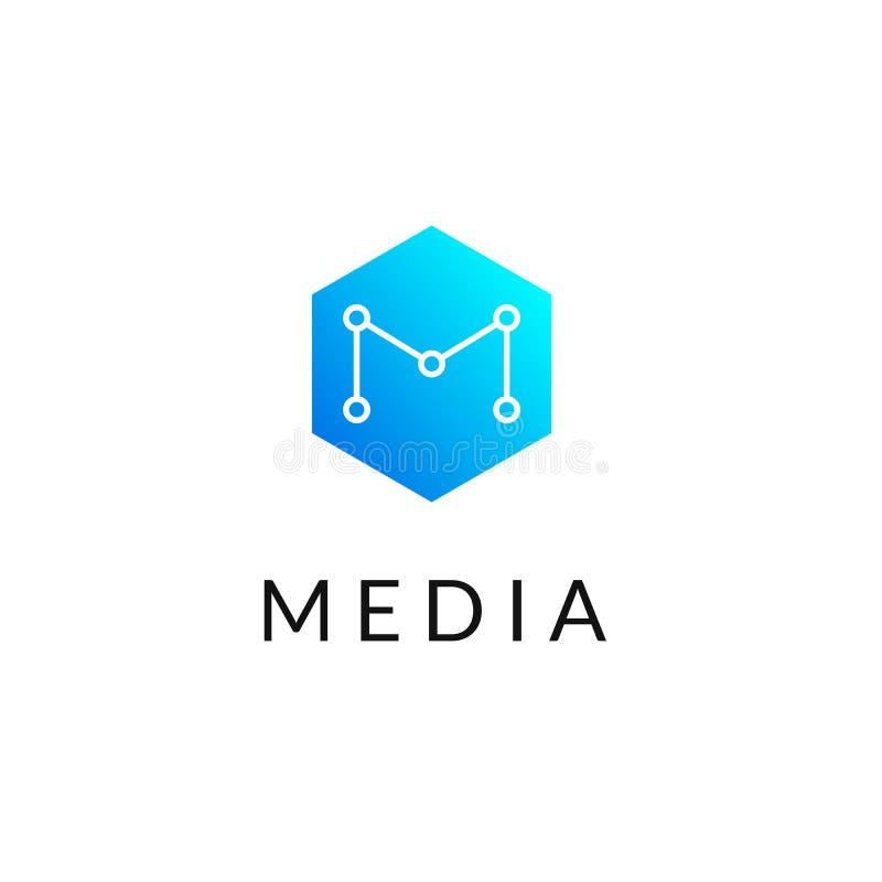 Heksagonalna geometrical ogólnospołeczna sieć logo ikona z listem M, proste linie Honeycomb błękitny logotyp, etykietka dla netto ilustracja wektor
