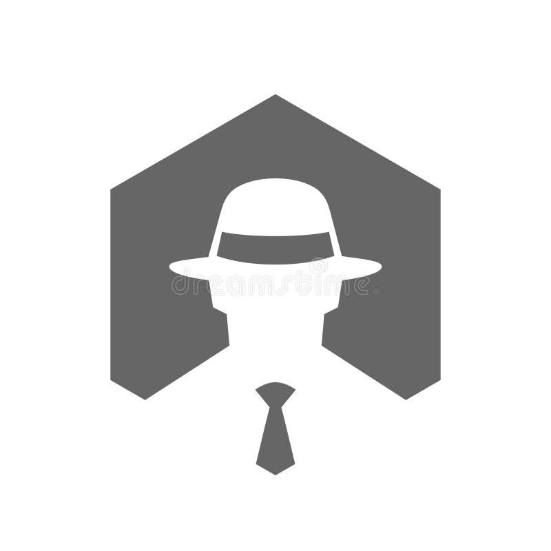 Heksagonalna Incognito ikona, hackera loga projekt, mężczyzna Z Fedora Kapeluszowym logem, tajny agent ikony pojęcie ilustracji