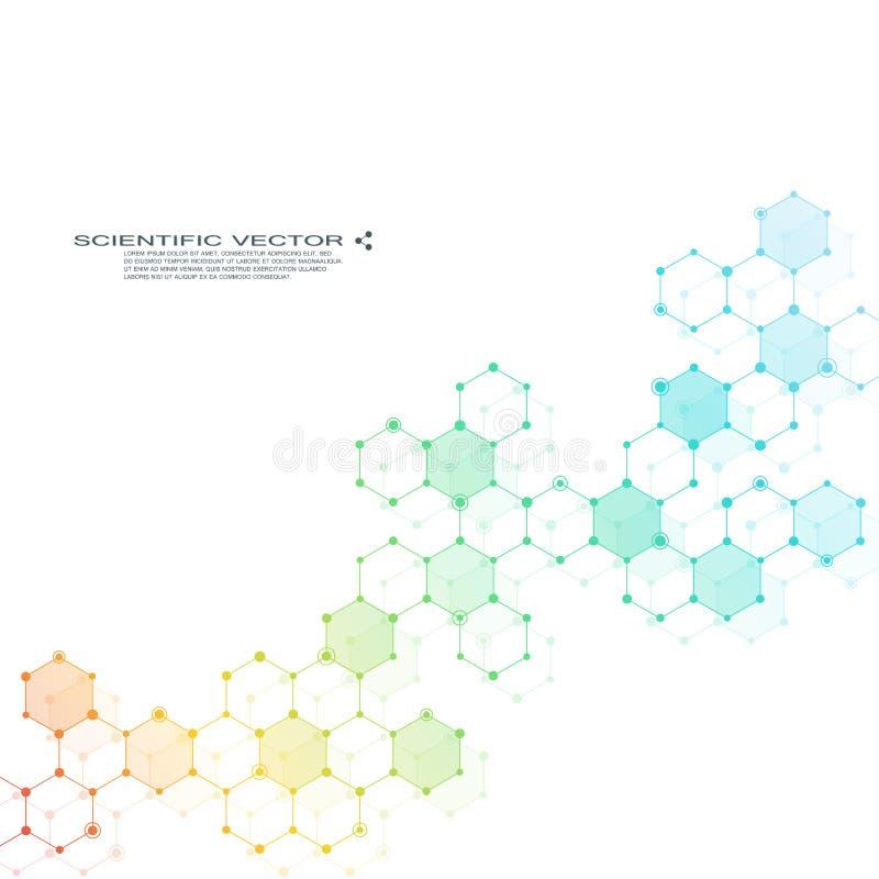 Heksagonalna molekuła struktura molekularna genetyczne i chemiczne mieszanki Chemia, medycyna, nauka i technika ilustracja wektor