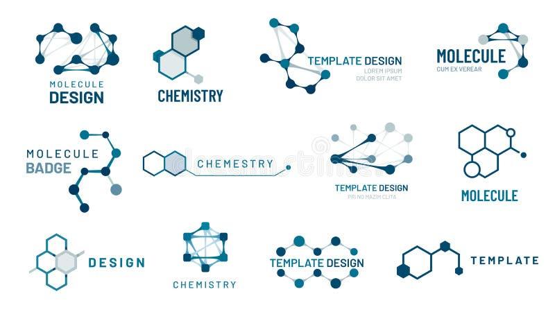 Heksagonalna molekuły odznaka Cząsteczkowej struktury logo, cząsteczkowe siatki i chemia sześciokąta molekuł szablonów wektoru se royalty ilustracja